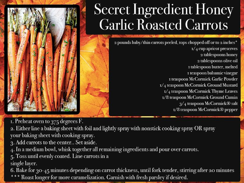 Garlic Roasted Carrots Recipe Card
