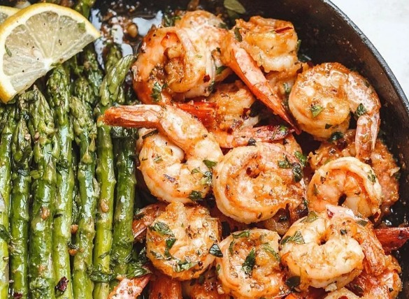 shrimp and asparagus | Island Real Estate
